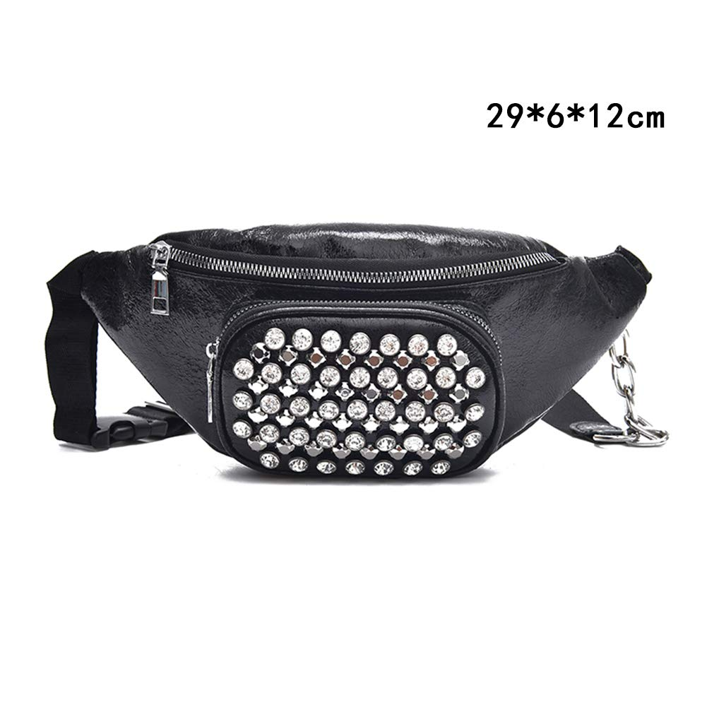 086af78c497 Amazon.com: LLQUS Women PU Leather Waist Bags Chest Tote Purse Bust ...