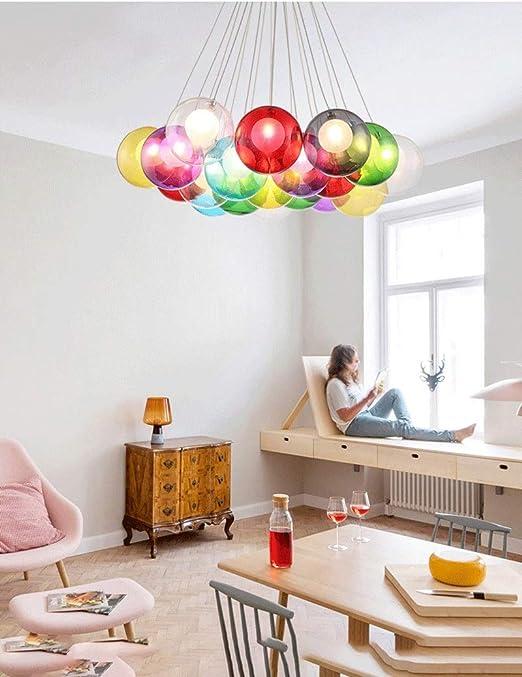 ESPERANZAXU Amos Lámpara De Color Redonda, Dormitorio En La Escalera Lámpara De Bolas De Cristal Burbuja Creativa, Tienda De Ropa En La Sala De Estar Araña (Tamaño : M): Amazon.es: Hogar