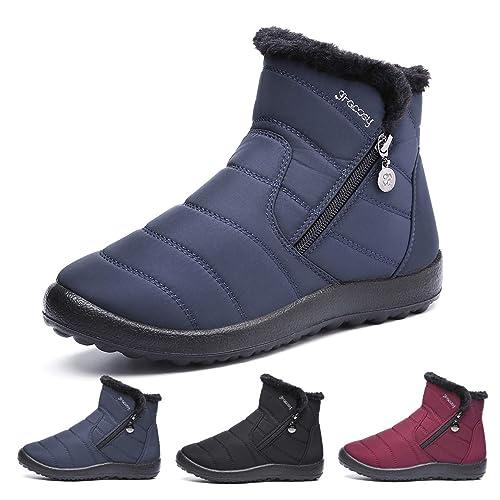gracosy Botas de Mujer Otoño Invierno Goma Encaje Forro de Piel Punta Redonda Botas de Nieve Zapatos de Trabajo Formal Calzado Antideslizante Ligero Botines ...