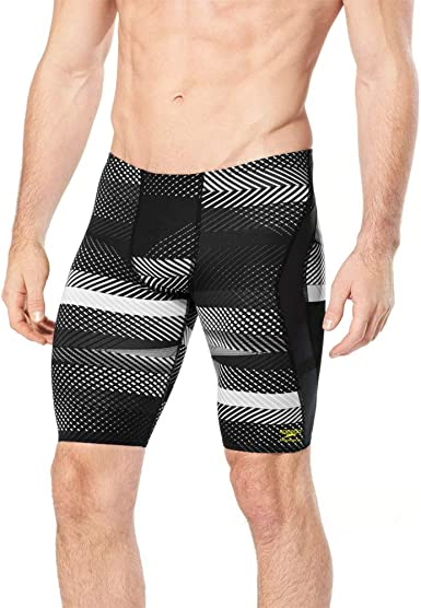 Speedo Mens PowerFLEX Eco Linear Lines Jammer Swimsuit