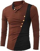 LUNIWEI Mens Stylish Slim Fit T-shirts Polo Long Sleeve Tee