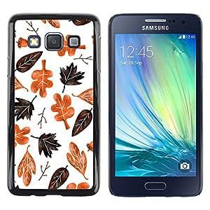 iKiki Tech / Estuche rígido - Autumn Fall Leaves White Pattern Brown - Samsung Galaxy A3 SM-A300