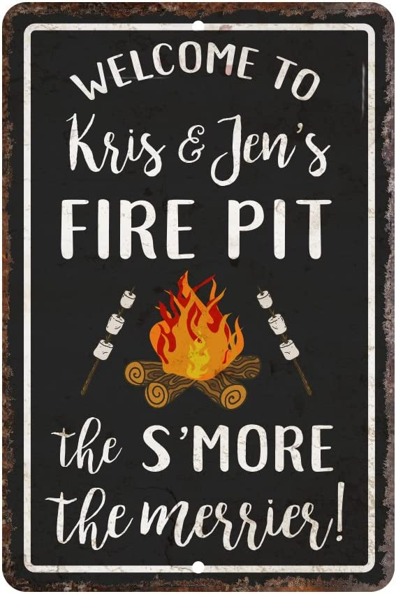Personalized Vintage Distressed Look Fire Pit S'More The Merrier Metal Room Sign