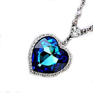 9d206b1b0 Image Unavailable. Image not available for. Color: SHEBY Ocean Heart Blue Pendant  Necklace Memorial Sterling Silver Austrian Crystal Fashion Necklace