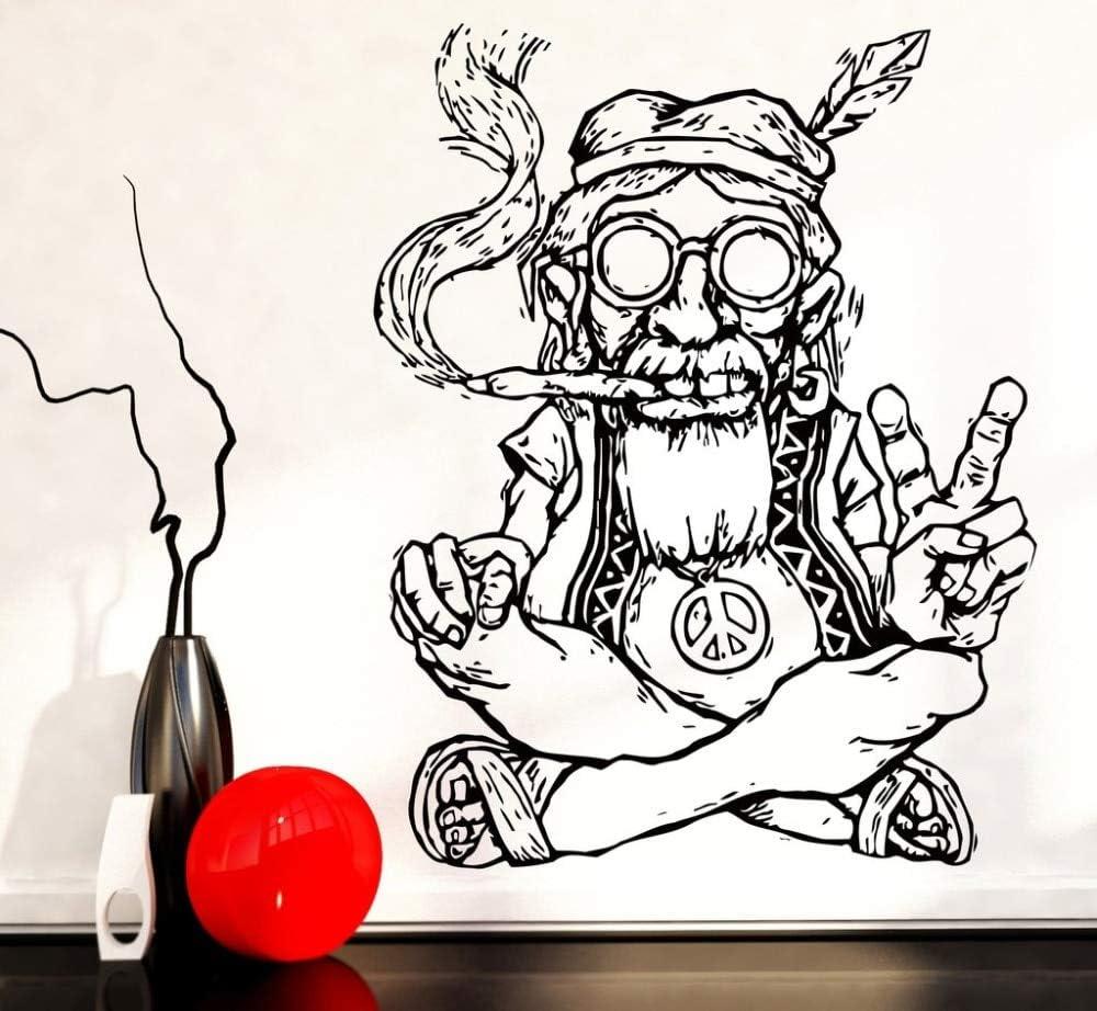 Nuevo diseño de vinilo pegatinas de pared Home Decor Living hippie en vasos de fumar marihuana marihuana paz simbolo etnico decoracion SA
