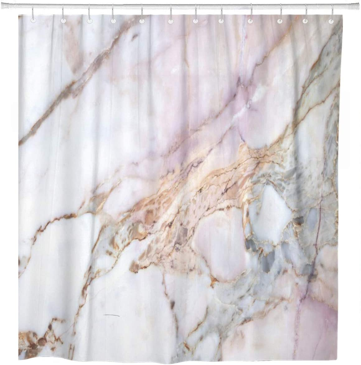 ArtSocket Shower Curtain Pink White Marble Pattern Gray Black Stone Light Granite Home Bathroom Decor Polyester Fabric Waterproof 72 x 72 Inches Set with Hooks
