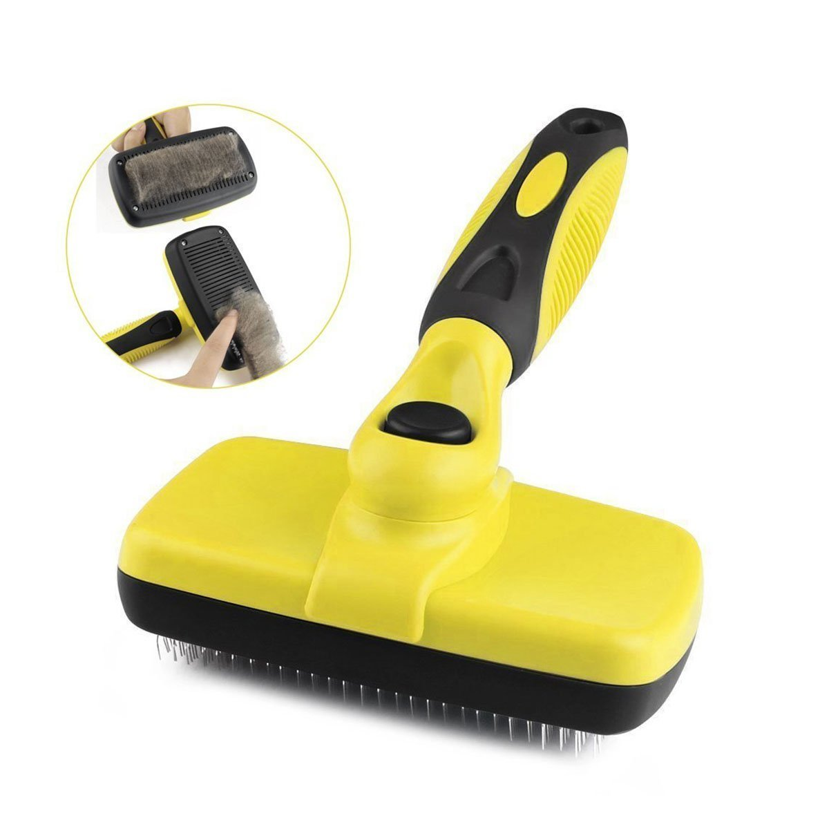 Goldsen Pet Deshedding Brush,Self Cleaning Brush with Flea Comb Pet Brush for Grooming Remove Tangled Knots and Loose Hair for Small Medium Large Dog Cat (Brush)