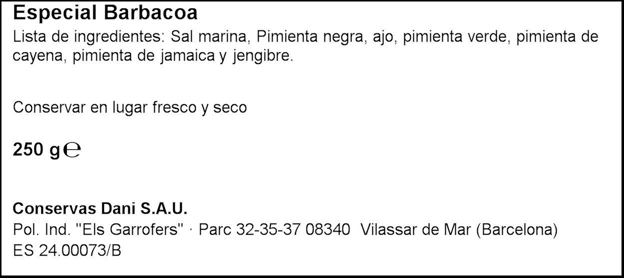 Dani - Especial Barbacoa, 250 g (Molinillo Incorporado): Amazon.es: Alimentación y bebidas