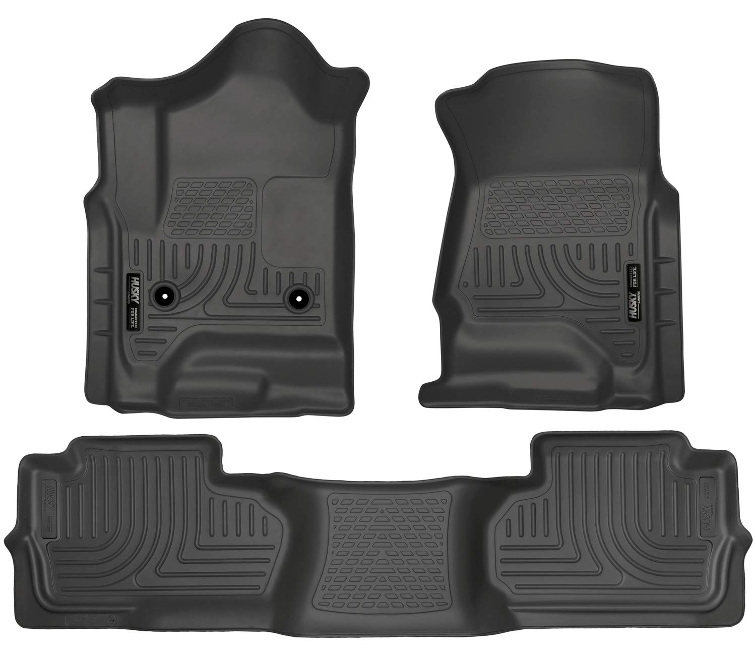 Husky Liners 98241 Black Weatherbeater Front & 2nd Seat Floor Liners Fits 2014-2018 Chevrolet-GMC Silverado/Sierra 1500 Double Cab, 2019 Chevrolet-GMC Silverado/Sierra 1500 Legacy, 2015-2019 Chevrolet Silverado 2500/3500 HD Double Cab by Husky Liners