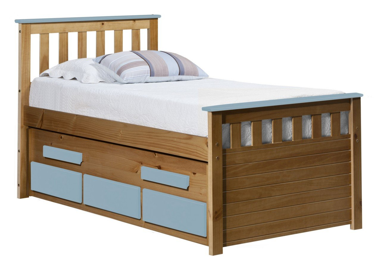 Design Vicenza Captains Bergamo Gästebett 3 Ft Antik mit Baby blau Details