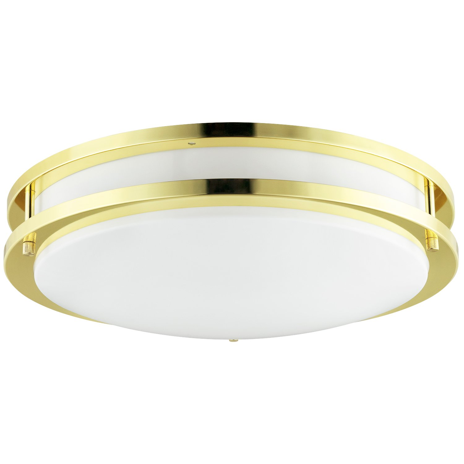 Sunlite DCO12//E//PB 12 Inch Energy Saving Decorative Band Trim Ceiling Fixture Polished Brass Finish with White Lens