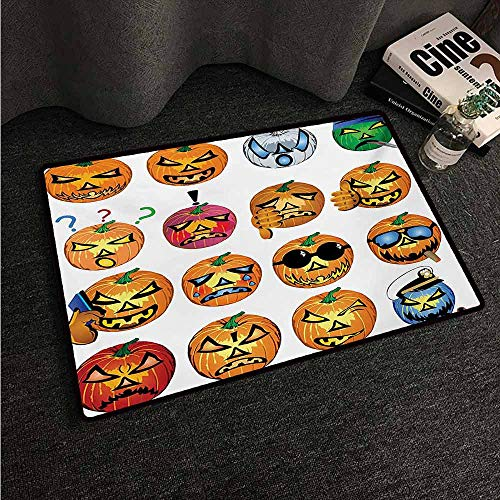 HCCJLCKS Modern Door mat Halloween Carved Pumpkin with Emoji Faces Halloween Inspired Humor Hipster Monsters Artwork Non-Slip Door mat pad Machine can be Washed W30 xL39 Orange -