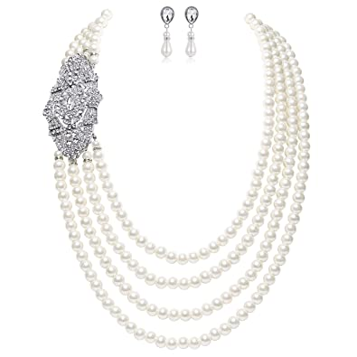 263afa24d BABEYOND 1920s Gatsby Pearl Necklace Vintage Bridal Pearl Necklace Earrings  Jewelry Set Multilayer Imitation Pearl Necklace