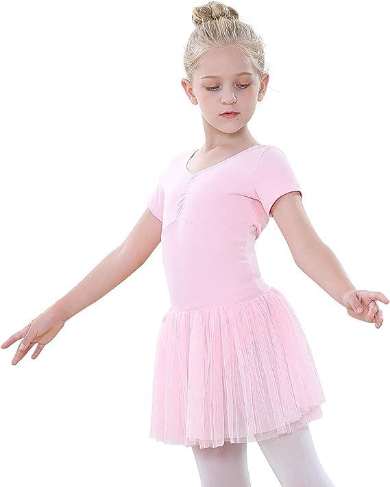tanzdunsje Girls Kids Ballet Dress Cotton Dance Gymnastics Leotard Costume Dance tutu Dress Cute Big Bow V-neck: Amazon.co.uk