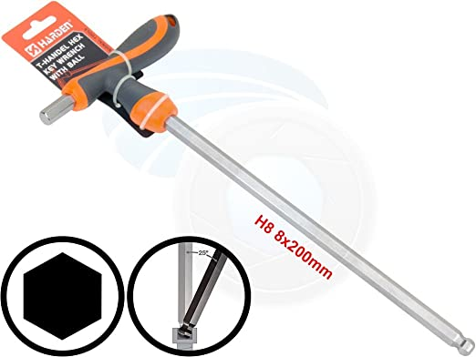 Hex Key Wrench SENRISE 8mm T Handle Hex Key Metric Angle Screwdriver Wrenches T-Handle Driver Socket Wrench for Hexagon Screws//Bolts//Fittings(Pack of 1)
