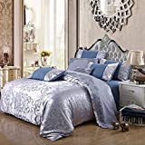 EEvER Reversible Bed Covers Coverlet Continental cotton jacquard bedding four-piece suit silk cotton double bedspreads linen cov pillowcase, reddish blue, 220 * 240cm