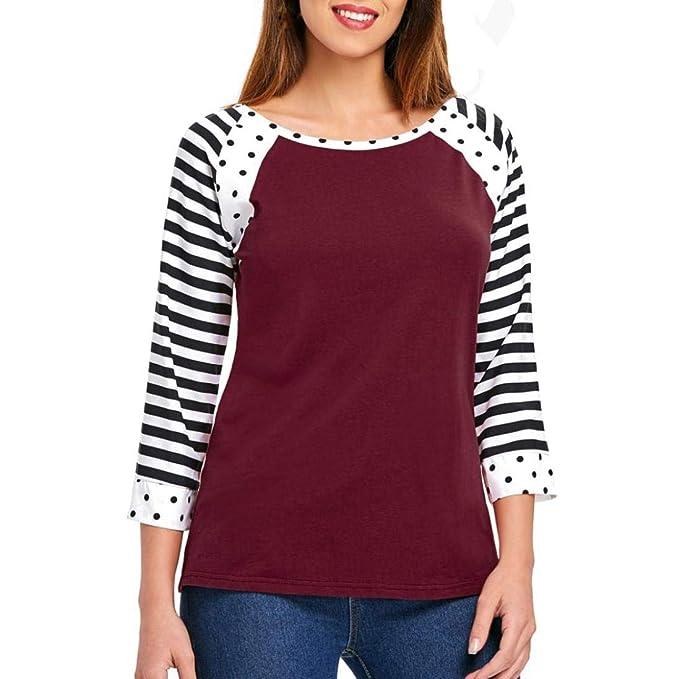 Bestow Cuello Redondo Moda Mujer Raya Casual Manga Larga O-Cuello Dot Impresiš®n Camiseta Blusa Tops Invierno: Amazon.es: Ropa y accesorios