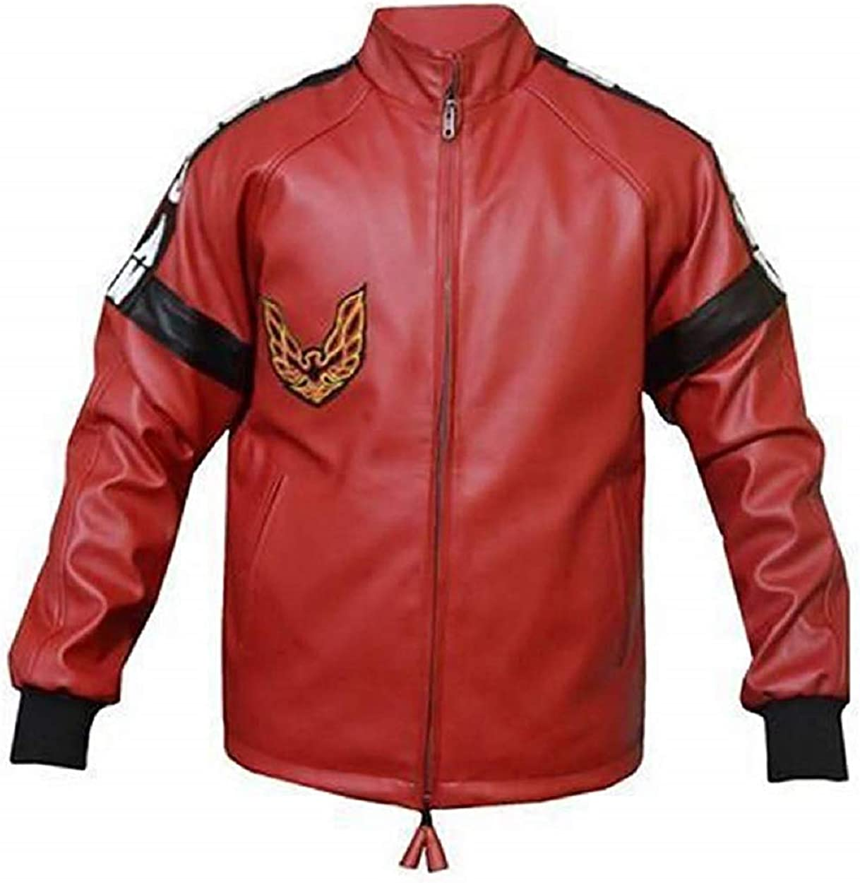 Smokey & The Bandit Trans Am Burt Reynolds Bomber Red Real Leather Jacket for Men's