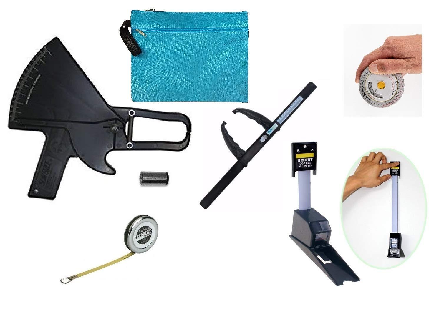 Skinfold Caliper Kit with Slim Guide, Stadiometer, Lufkin and BMI Tape Measure, Calibration Dowel, Bag