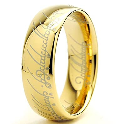 lord of the rings high polish gold plated tungsten carbide ring 7mm size n - Lord Of The Rings Wedding Ring