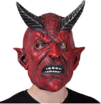 Red Devil Horror with Hair Halloween Mask Adult Mens Fancy Dress Costume