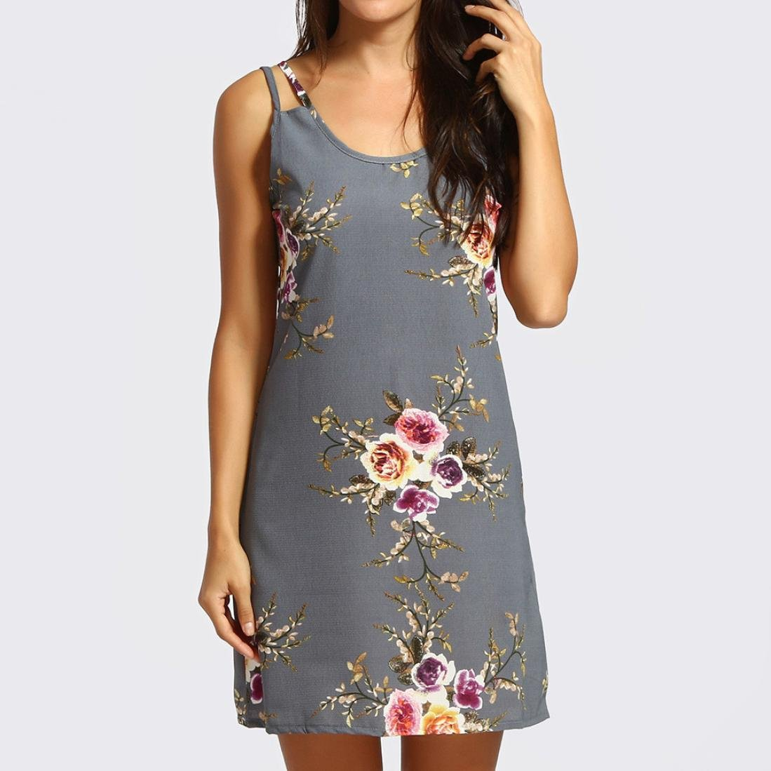 668ad1a07338ce Amphia Damen Kleid Strandkleid Blumen Druckkleid Bandeaukleid Floral  Sommerkleid Spaghettiträger Kleid: Amazon.de: Bekleidung