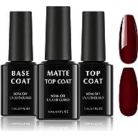 TOMICCA Base Coat Top Coat Gel UV Set 3 * 15ml UV-LED Soak off Base Coat Geen Wipe Top Coat glanzende matte gel nagels…
