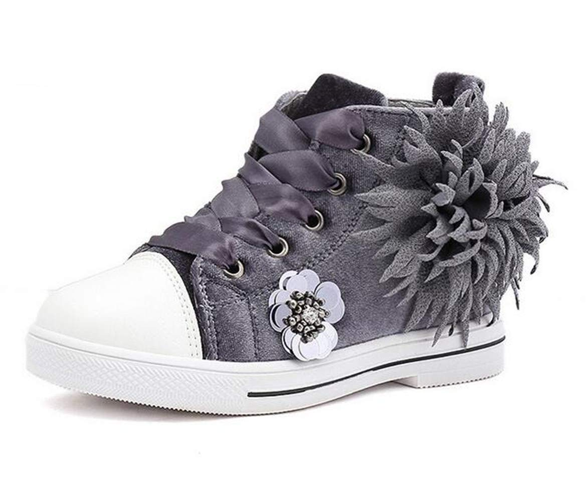 Bumud Kids Girl's Fashion High Top Sneaker Easy Walk Casual Shoes (1 M US Little Kid, Grey)