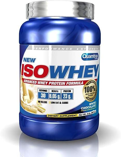 Quamtrax Proteina Iso whey sabor chocolate blanco -907 gr 30 servicios