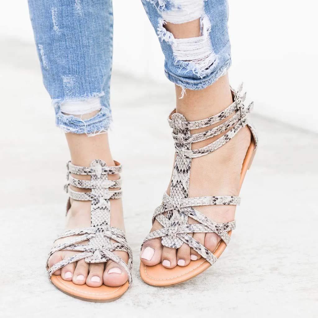 Lurryly Women Summer Fashion Sandals Buckle Strap Flat Leopard Retro Peep Toe Sandals