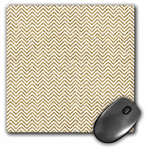 - 3dRose Gold and White Glitter Effect Skinny Chevron Stripes Pattern - Mouse Pad, 8 by 8 inches (mp_210832_1)