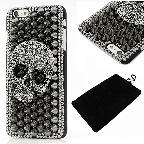 6 Case,Iphone 6 Case - LU2000 3D Handmade Cool Skull with Special Pyramid Studs and Spikes Rivets Design Hard Cover Black PC Case for Iphone 6 (4.7'') with Soft Phone Velvet Pouch (Cool Skull) (Cover Skull Case)