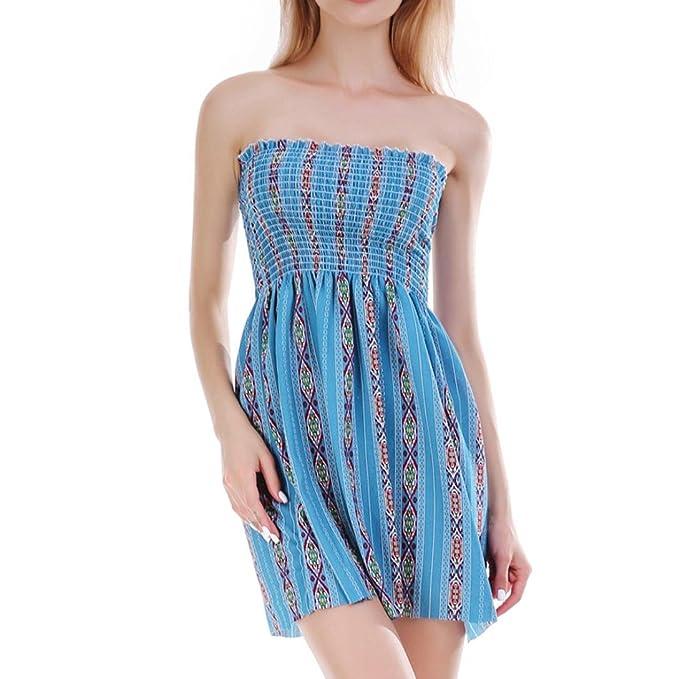 Lilicat Damen Sommer Minikleid Spaghetti V-Ausschnitt Chiffonkleid Blumen  Strand A-Linie Ballkleider Party ae9182b6c6