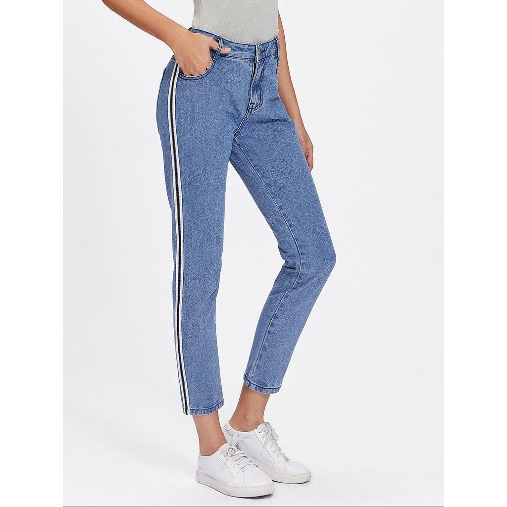 American Fusion X Stripe Side Jeans for Women, Blue