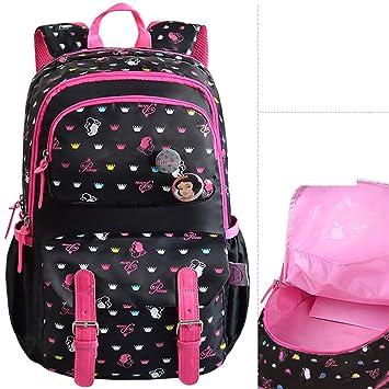 Mochila Escolar Primaria niño 1-3-4 Quinto Grado 6-12 años niña Alivio Infantil Carga Mochila Negro: Amazon.es: Equipaje