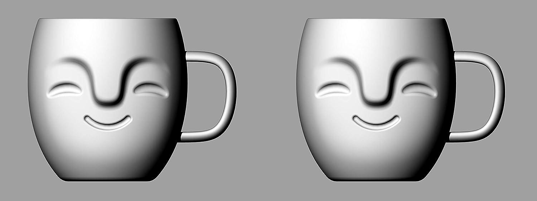 Yeppers 2X 390ml No.1 doppelwandige Tassen mit Gesicht geschwungen//Thermotassen//Glastassen//Teetassen//Kaffeetassen mit Schwebeeffekt by Feelino
