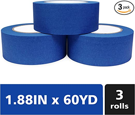 1.88x 60 Yards Painters Tape,Blue Painters Tape 2 inch,3 Pack 180 Yards Total-Medium Adhesive-No Residue Behind-Professional Masking Tape-Blue Scotch by Painters House Painter/'s House