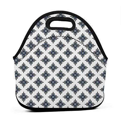 Neoprene Lunch Bag Victorian,Damask Motifs with Royal Renaissance Style Baroque Details Classical Design, Blue Black White,medium size lunch bag for men
