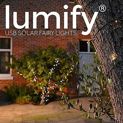 White 100 LEDs Elan Outdoor Garden Solar Powered LED Fairy String Lights