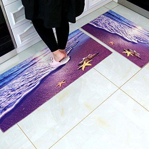 MAXYOYO Creative 3D Beach Carpet Runner Rug 2 Pieces Set, Ultra Soft 3D Kitchen Bathroom Anti-Slip Area Rug, Bedside Floor Mat Set 35x24 in + 71x24 in -
