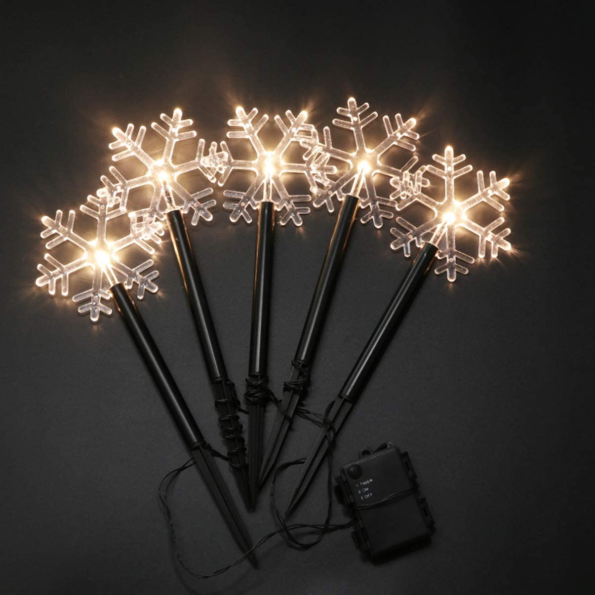 Uonlytech Christmas Snowflake Garden Lights Battery Operated Snowflake Lights Outdoor Waterproof Christmas Decorative Ground Lights Lawn Night Light