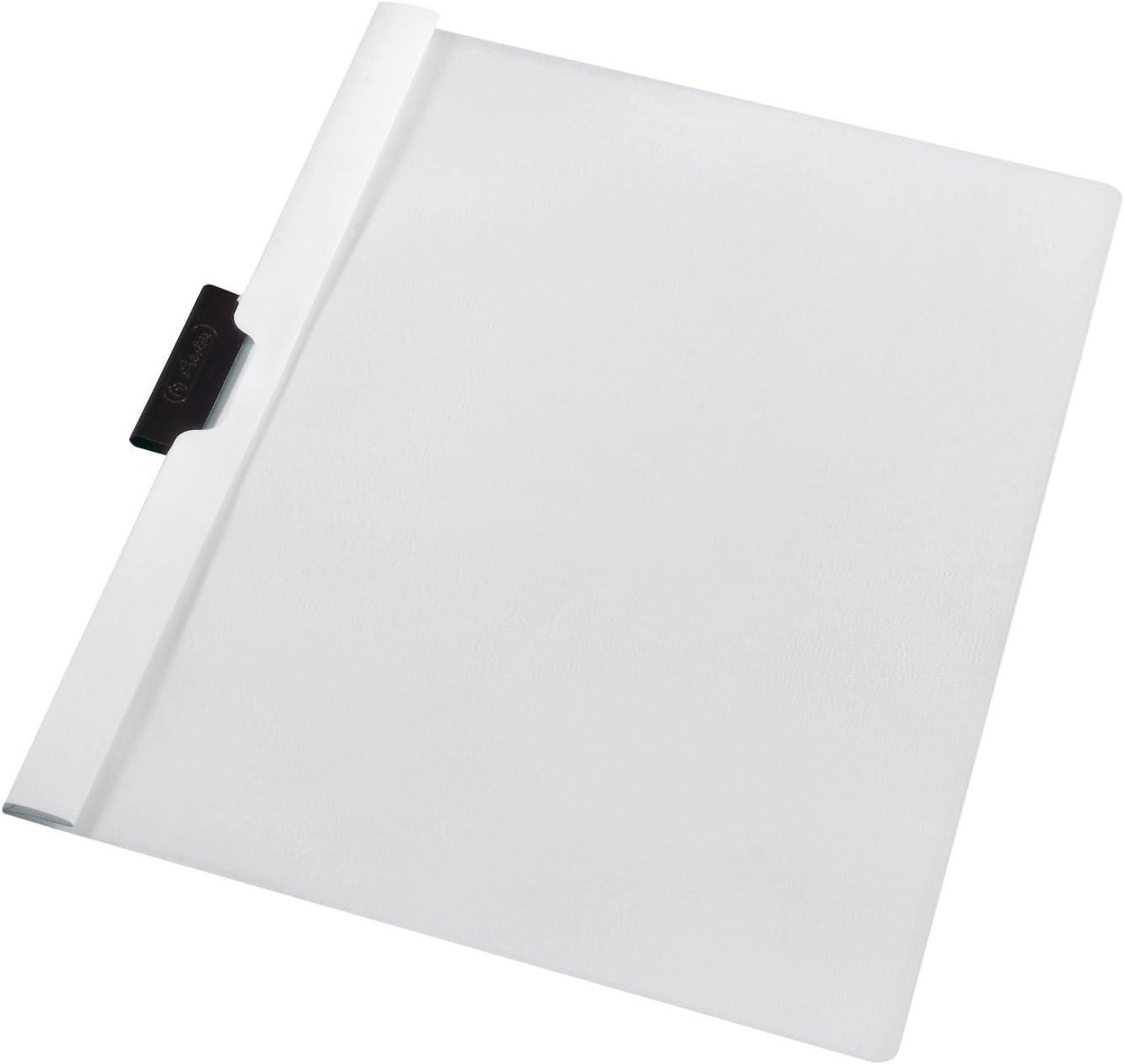 Herlitz 10312817 - Funda plástica con solapa transparente capacidad para 60 hojas de PVC color blanco (Pack de 5)