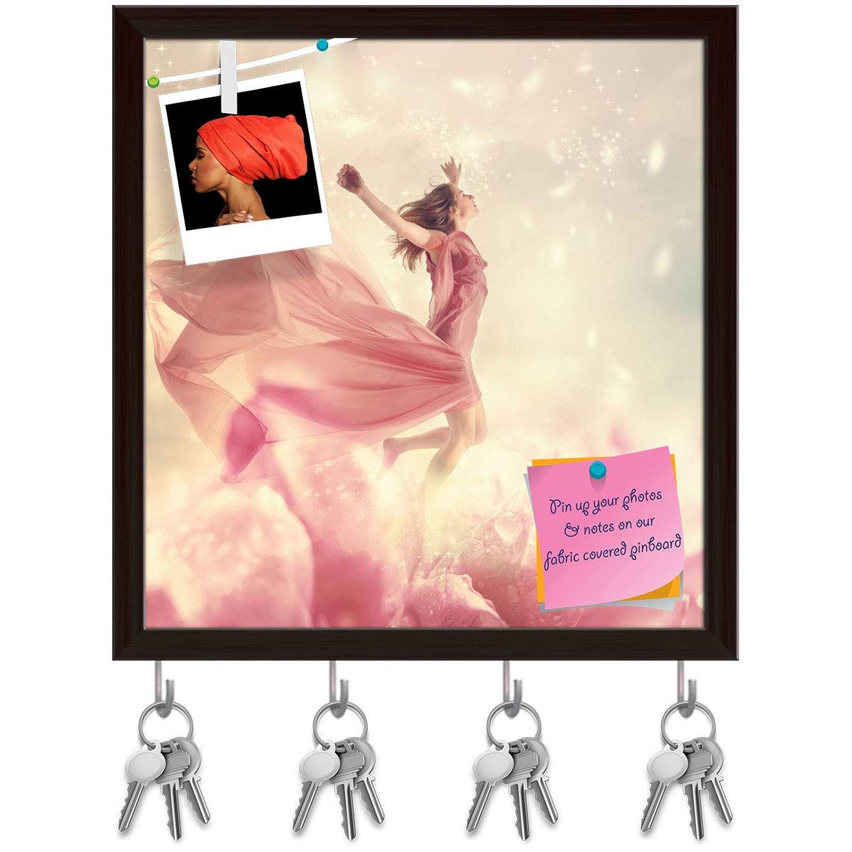 Dark Brown Frame 8inch x 8.4inch (20.3cms x 21.3cms) Artzfolio Woman Jumping On A Giant Flower Key Holder Hooks   Notice Pin Board   White Frame 16 X 16.8Inch