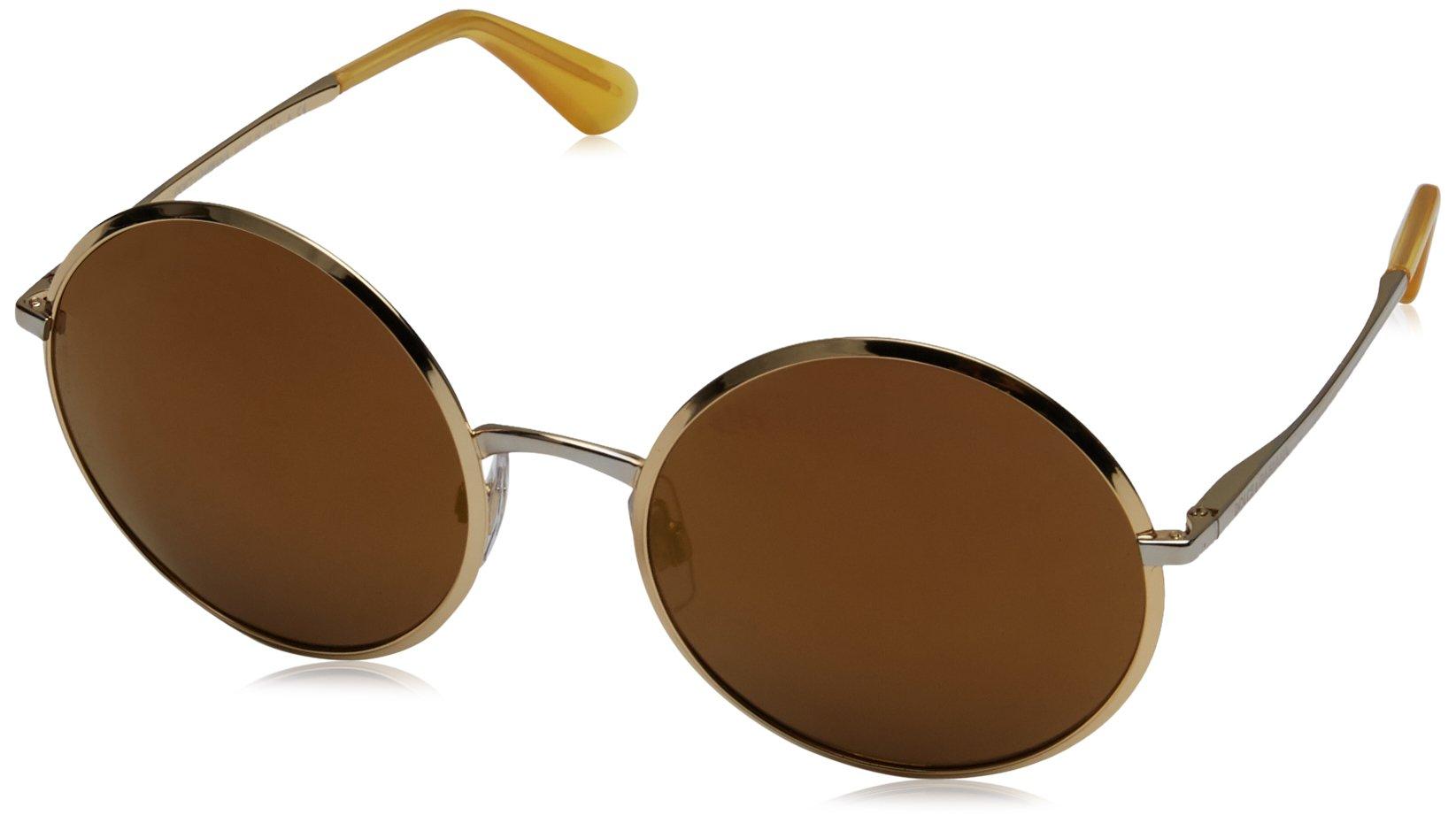 Dolce & Gabbana Women's Metal Woman Non-Polarized Iridium Round Sunglasses, Gold, 56 mm