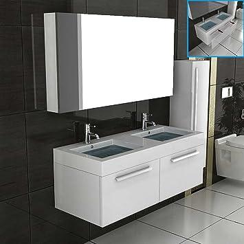 Doppelwaschtisch mit unterschrank und spiegelschrank  Doppel Waschtisch Badmöbel Set mit Spiegelschrank Weiss hochglanz ...