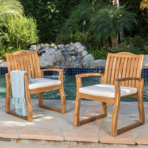 Cheap Tampa | Acacia Wood Outdoor Dining Chairs | Set of 2 | Perfect for Patio | with Teak Finish