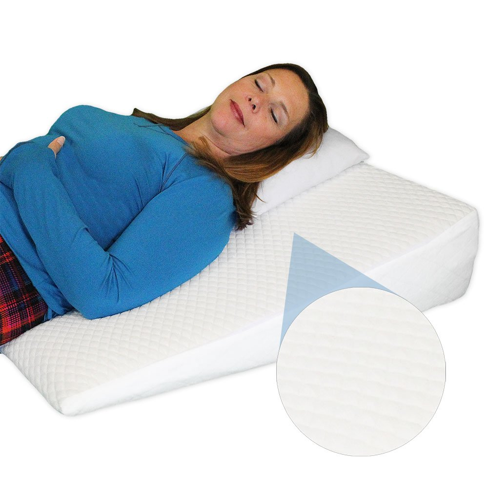 Acid Reflux Cooling Wedge Pillow - Memory Foam Overlay - Removable COOLING Cover - ''COOL'' by Medslant. Recommended size for GERD and other sleep issues.