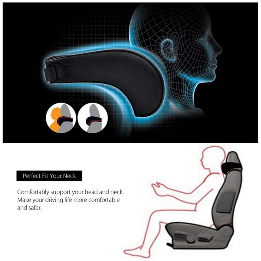 Anyshock Car Headrest Pillow Memory Foam Car Neck Pillow Support Travel Auto Head Neck Rest Cushion with Ergonomically for Adjust Sitting Position Relief Pain of Back Spine Coccyx Black-Leather
