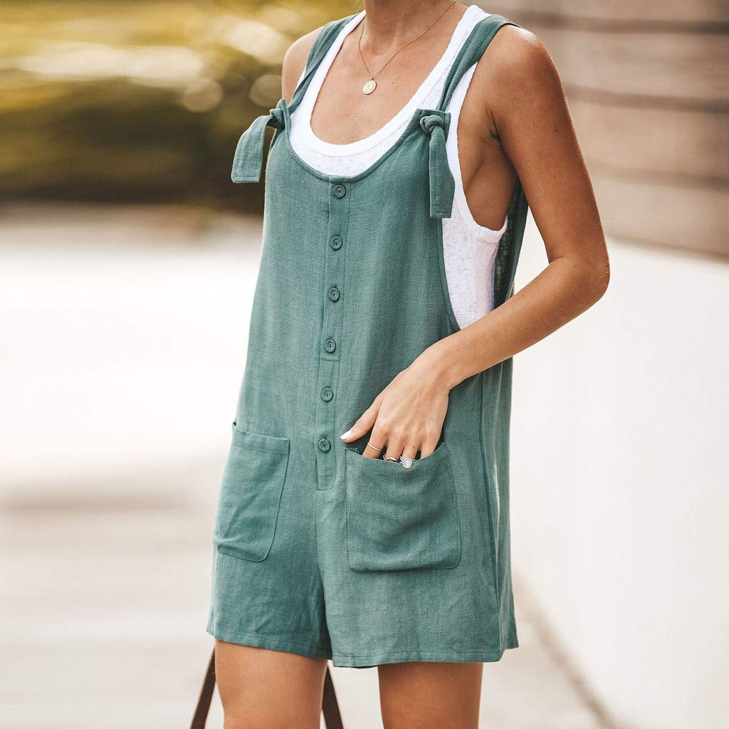 Womens Linen Bib Pants Wide Leg Jumpsuits Rompers Buttons Overalls with Pockets