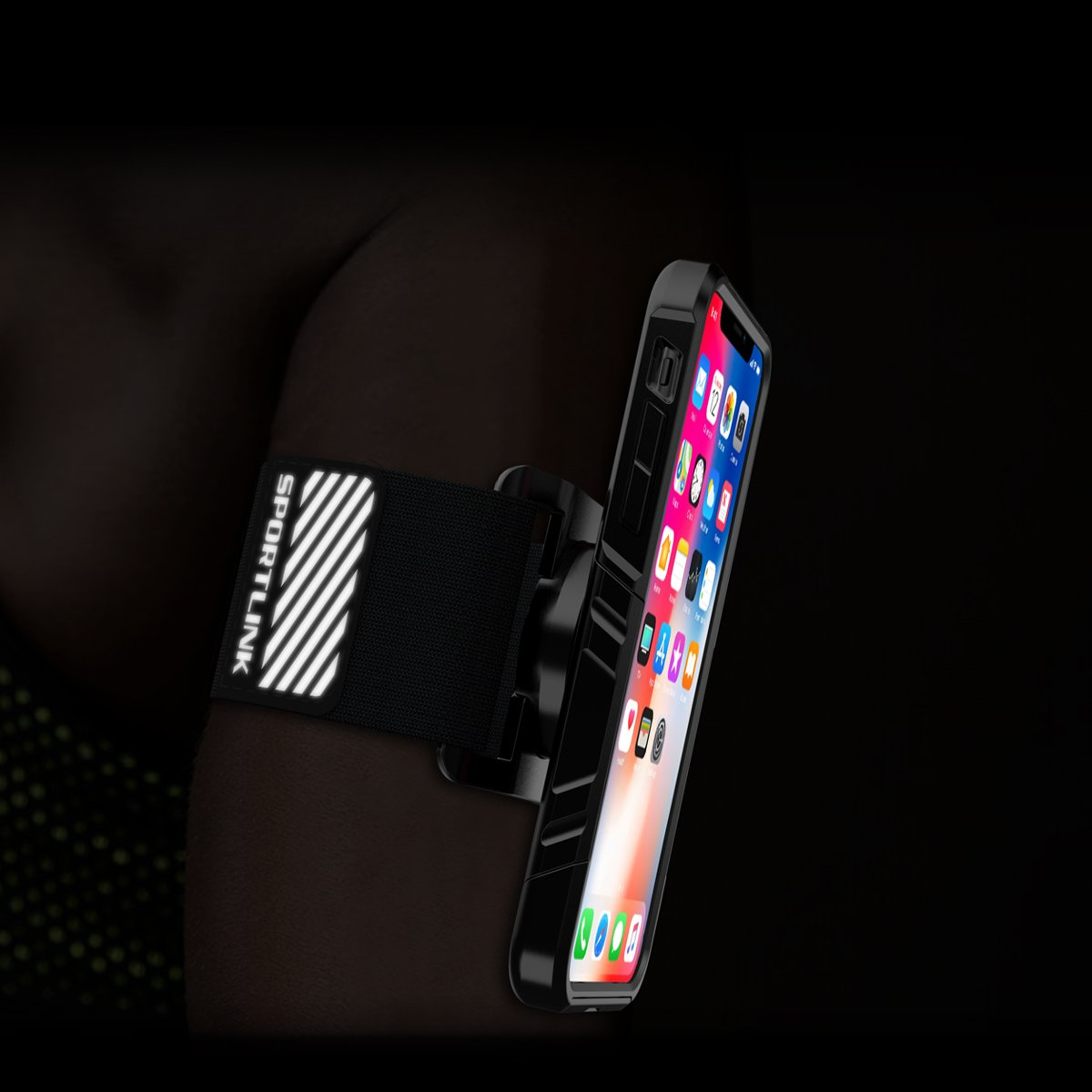 Sportlink Run Kit for iPhone X / iPhone 10, Sports Wristband Phone Holder, Workout iPhone Armband for Cycling Gym Jogging Running (Black)